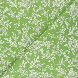 Tissu coton cretonne Brins - vert x 10cm