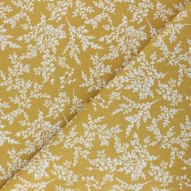Cretonne cotton fabric - mustard yellow Brins x 10cm