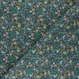Tissu coton cretonne Clematite - vert x 10cm