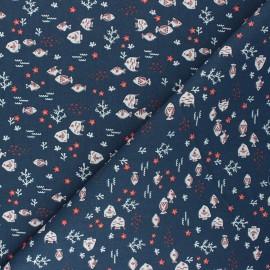 Cretonne cotton fabric - navy blue Petit-Poisson x 10cm