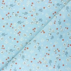 Cretonne cotton fabric - light blue Petit-Poisson x 10cm
