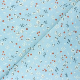 Tissu coton cretonne Petit-Poisson - bleu clair x 10cm