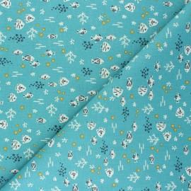 Cretonne cotton fabric - celadon Petit-Poisson x 10cm