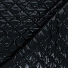 Quilted lining metallic fabric - black Thiago x 10cm