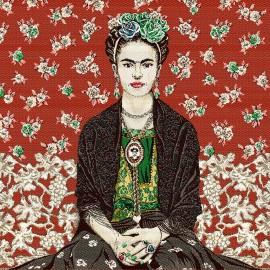 Carré Jacquard Frida kahlo- Rouge