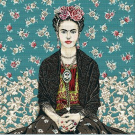 Carré Jacquard Frida kahlo - Bleu