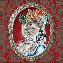 Square Jacquard fabric - red Catherine