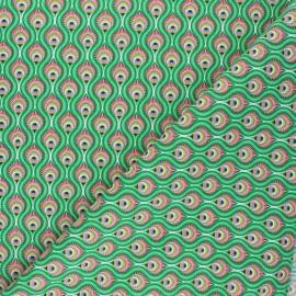 Cretonne cotton fabric - green Peacock x 10cm