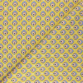 Cretonne cotton fabric - mustard yellow Peacock x 10cm