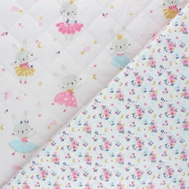 Quilted cotton fabric - white Lavigna/Fledi x 10cm