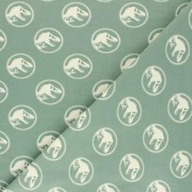 Printed Jersey fabric - lichen green Jurassic Park x 10cm