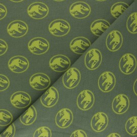 Printed Jersey fabric - olive green Jurassic Park x 10cm