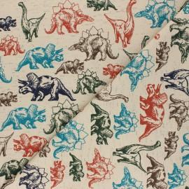 Tissu jersey Poppy Mes Amis Dinosaures - beige x 10cm