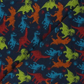 Printed Jersey fabric - navy blue Jurassic Friends x 10cm