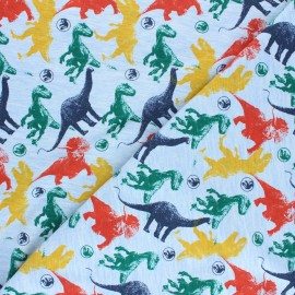 Printed Jersey fabric - light blue Jurassic Friends x 10cm
