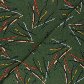 Plain french terry fabric - khaki green Sylvia x 10cm