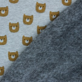 Sweatshirt fabric with minkee - mottled grey Otto x 10cm
