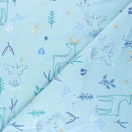 Cretonne cotton Fabric - blue Magnus x 10cm
