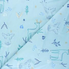 Tissu coton cretonne Magnus - bleu x 10cm