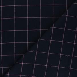 Tissu polyviscose élasthanne Glen - bleu marine x 10cm