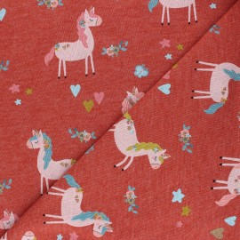 Poppy French Terry fabric - mottled terracotta Unicorn Party x 10cm