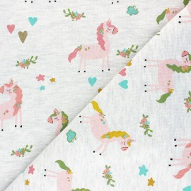 Poppy French Terry fabric - mottled raw Unicorn Party x 10cm