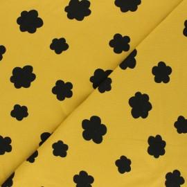 Poppy Sweatshirt fabric - mustard yellow Flowers x 10cm