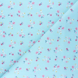Tissu coton cretonne Sins - bleu x 10cm
