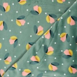 Tissu jersey velours Sabine - vert sauge x 10cm