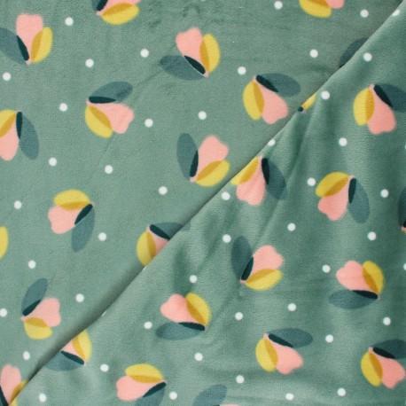Tissu éponge jersey Sabine - vert sauge x 10cm