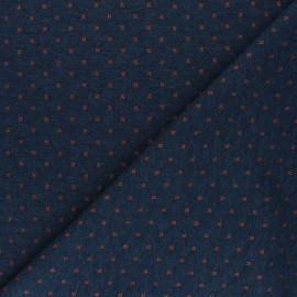 Tissu jersey matelassé réversible Solly - bleu marine/orange x 10cm