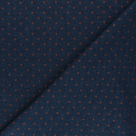 Reversible quilted jersey fabric- navy blue/orange Solly  x 10cm