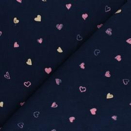 Poppy Milleraies velvet fabric - navy blue You're A Sweetheart x 10cm