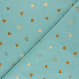 Poppy Milleraies velvet fabric - sage green You're A Sweetheart x 10cm