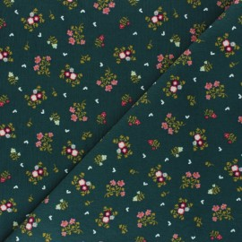 Tissu velours milleraies Poppy Sweet Little Flowers - vert sapin x 10cm