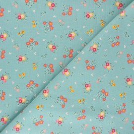 Tissu velours milleraies Poppy Sweet Little Flowers - vert sauge x 10cm