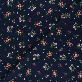 Tissu velours milleraies Poppy Sweet Little Flowers - bleu marine x 10cm