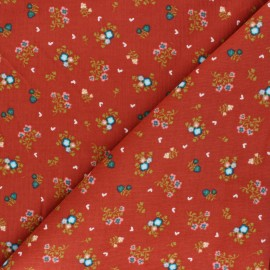 Tissu velours milleraies Poppy Sweet Little Flowers - tomette x 10cm