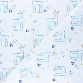 Cretonne cotton Fabric - white Kajsa x 10cm