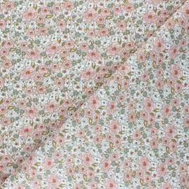 Tissu coton cretonne Kalmia - rose x 10cm