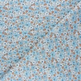 Tissu coton cretonne Kalmia - bleu x 10cm