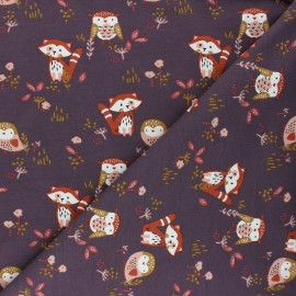 Jersey cotton fabric - plum Sokidy x 10cm