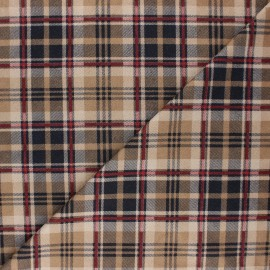 Checked Suede elastane fabric - beige Alamo x 10cm