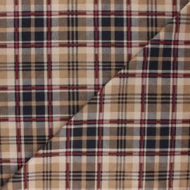 Tissu Suédine élasthanne à carreaux Alamo - beige x 10cm