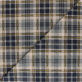 Tissu Suédine élasthanne à carreaux Alamo - bleu x 10cm