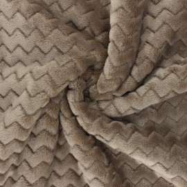Flannel fleece fabric - Taupe Wave x 10cm