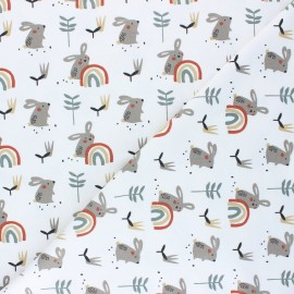 Jersey cotton fabric - white Ladino x 10cm