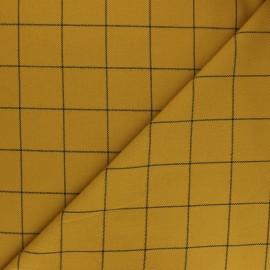Tissu polyviscose élasthanne Glen - jaune moutarde x 10cm