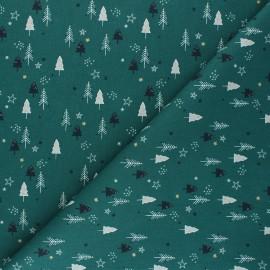 Tissu coton cretonne Christmas sapinette - vert sapin x 10cm