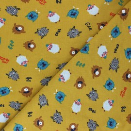 Poppy Jersey fabric - mustard yellow Boo to You x 10cm